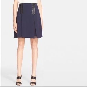 Rebecca Taylor Pleated Skirt Faux Leather Trim